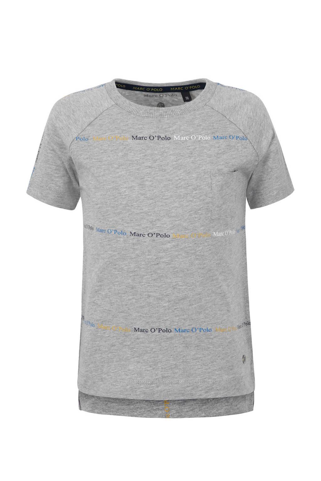 Marc O'Polo T-shirt met logo grijs melange, Grijs melange