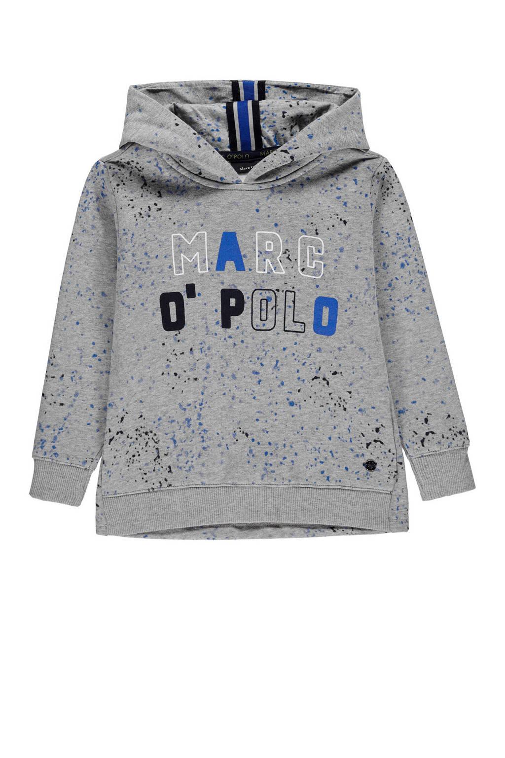 Marc O'Polo hoodie met logo grijs/blauw, Grijs/blauw