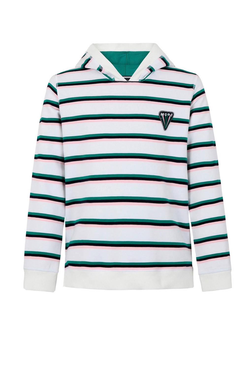 Marc O'Polo gestreepte hoodie wit/groen/roze, Wit/groen/roze