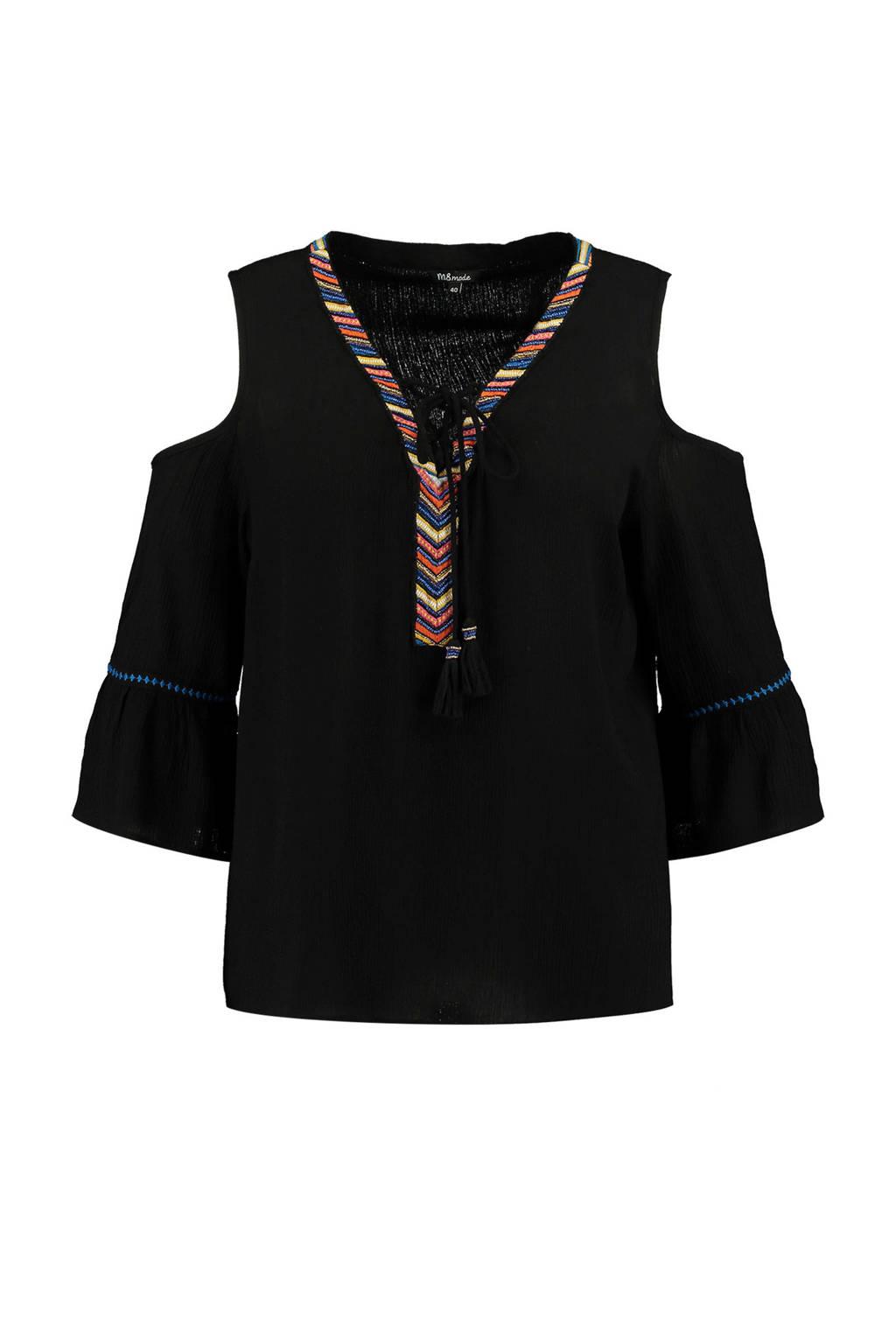 MS Mode open shoulder top met borduursels zwart, Zwart