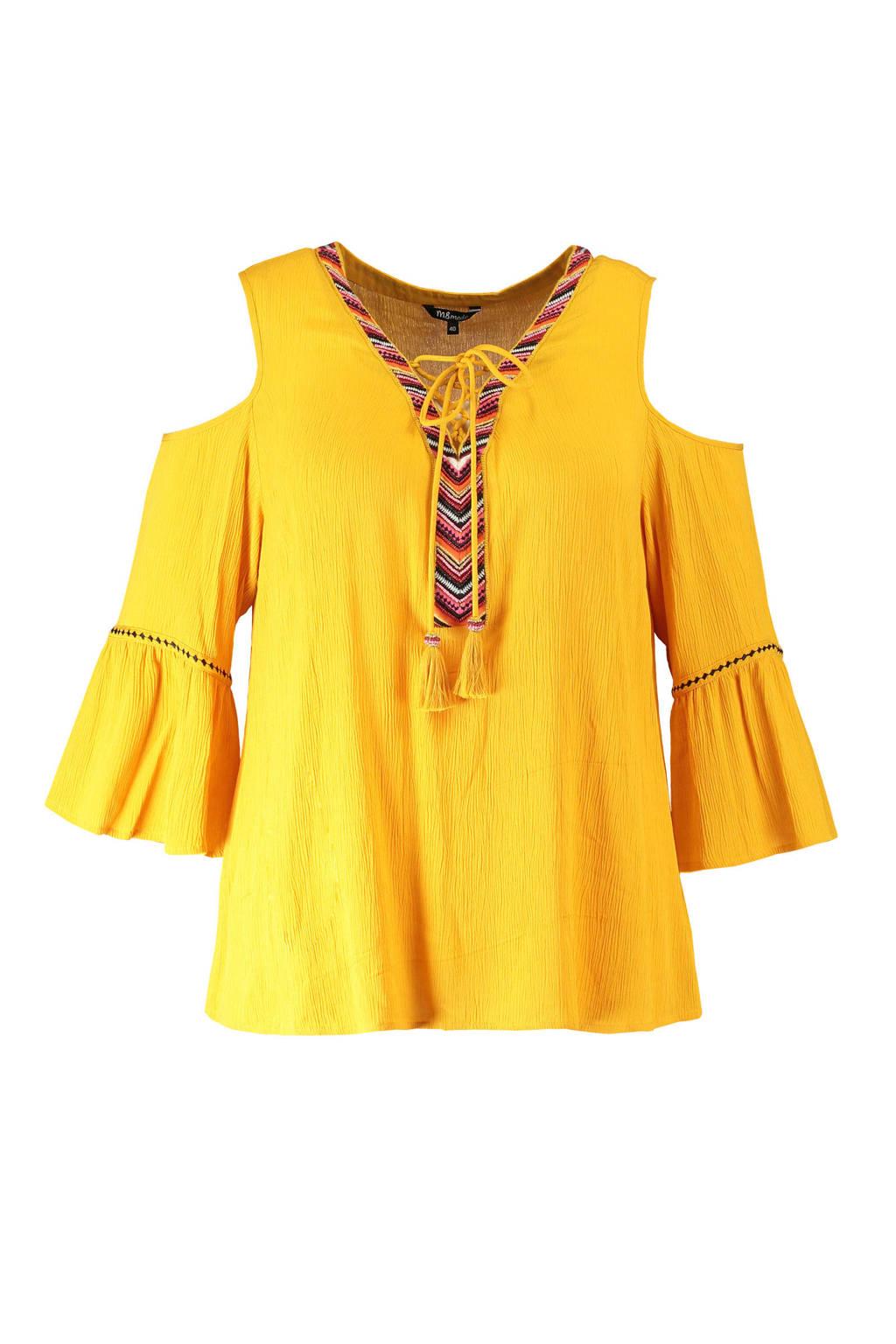 MS Mode open shoulder top met borduursels geel, Geel
