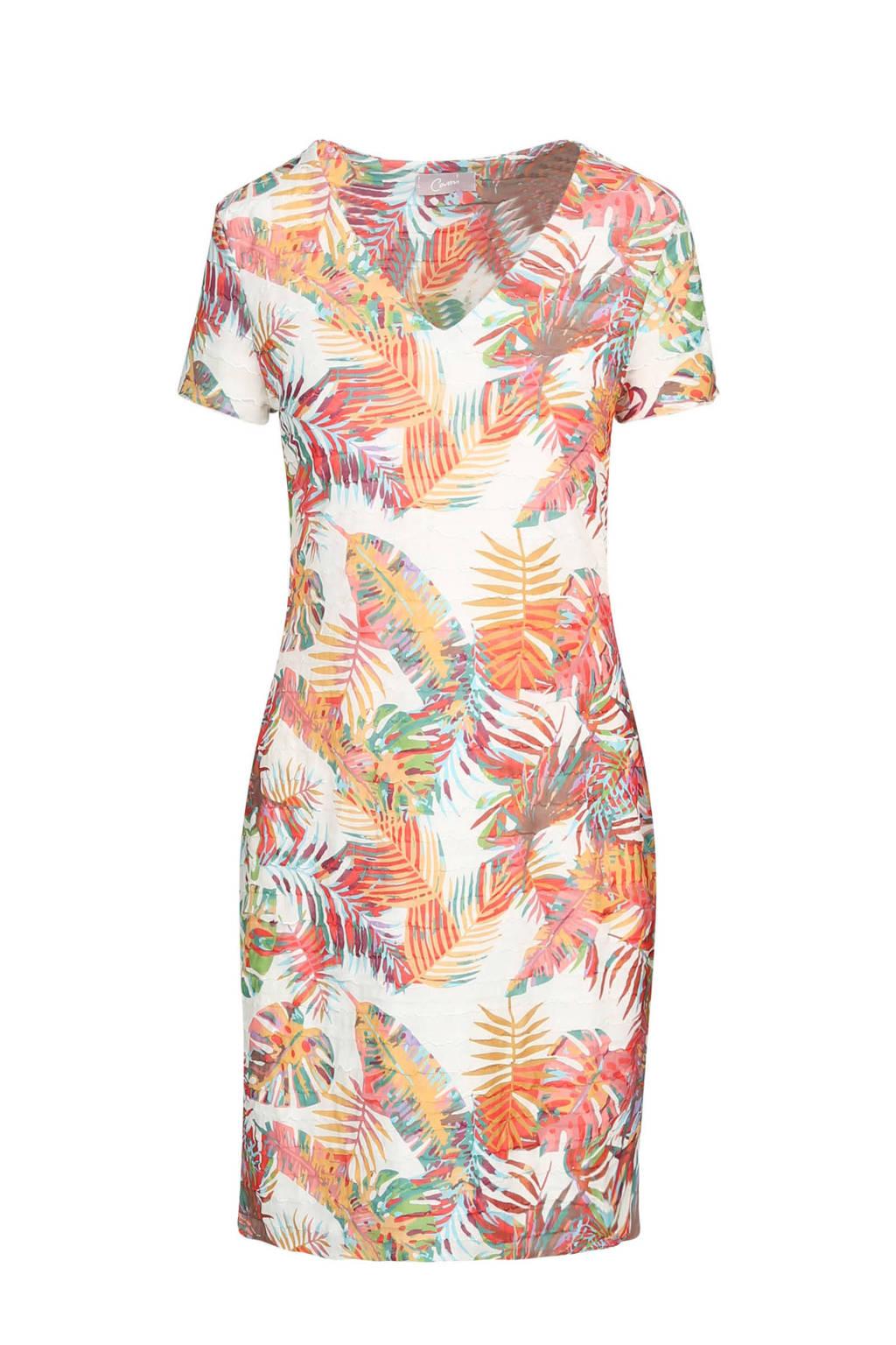 Cassis jurk met ruches en tropische print, Wit/multi