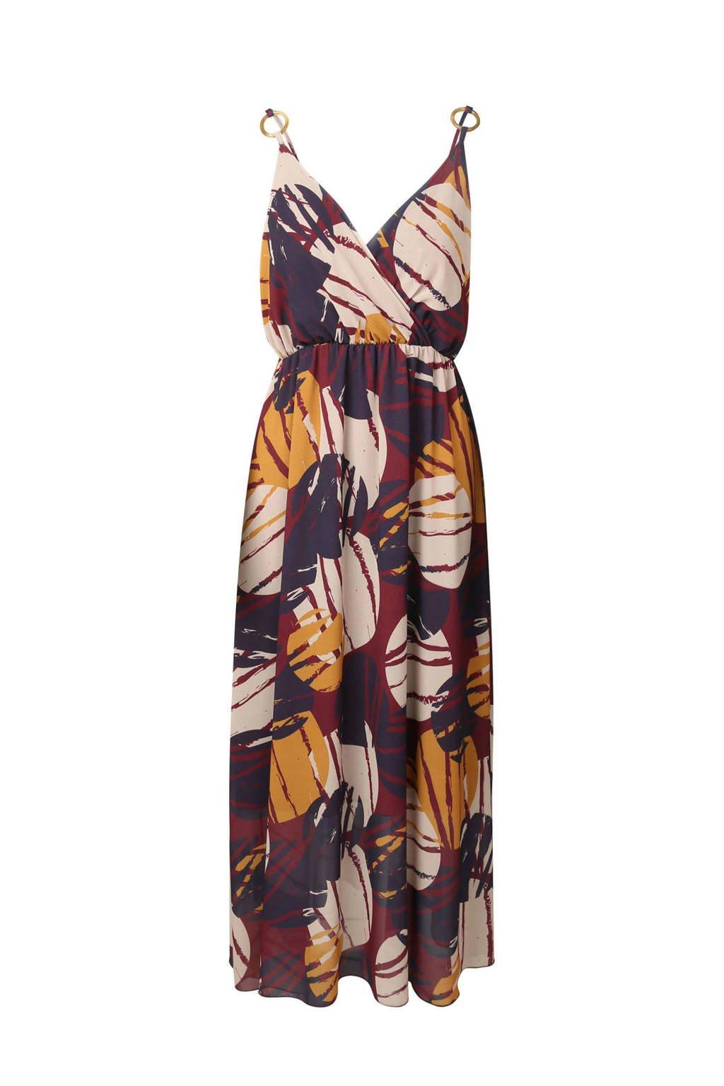 Cassis jurk met all-over print, Paars/multi