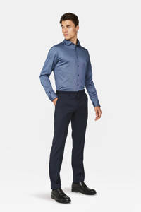 WE Fashion slim fit overhemd, Donkerblauw
