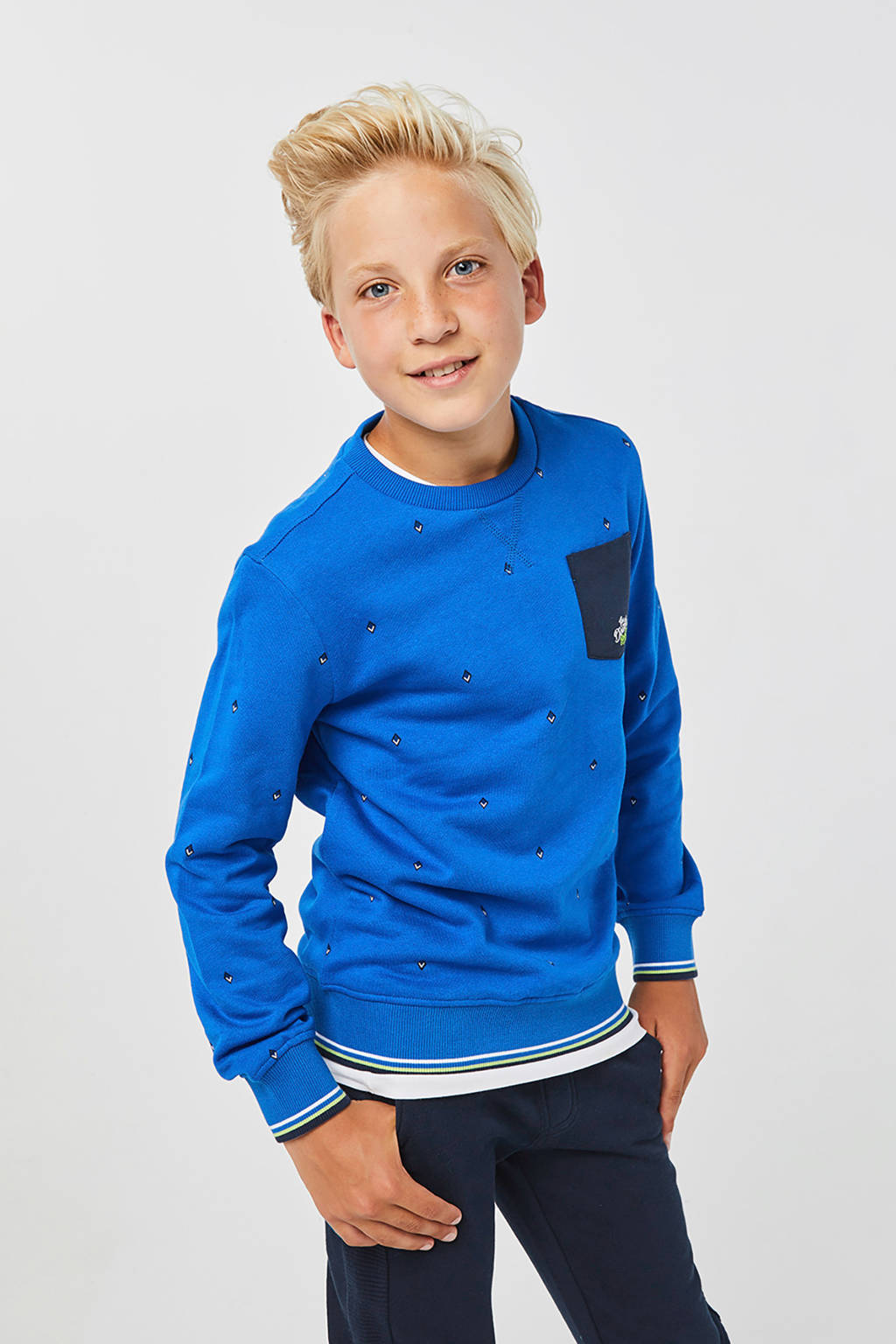 WE Fashion sweater met all over print blauw, Blauw