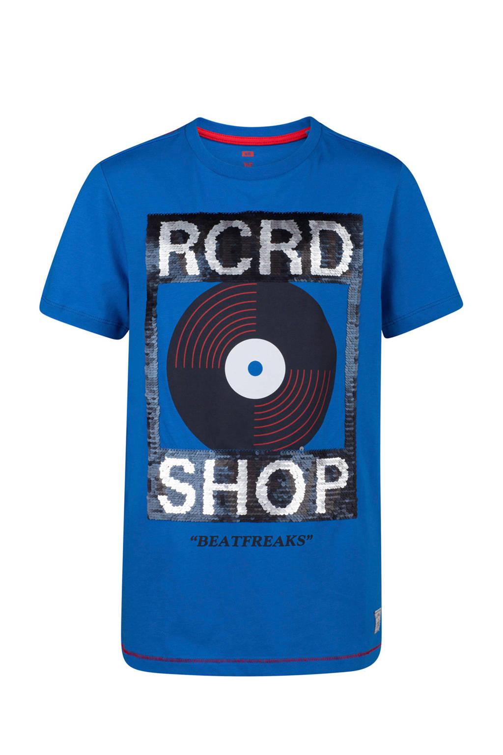 WE Fashion T-shirt met pailletten kobaltblauw, Kobaltblauw