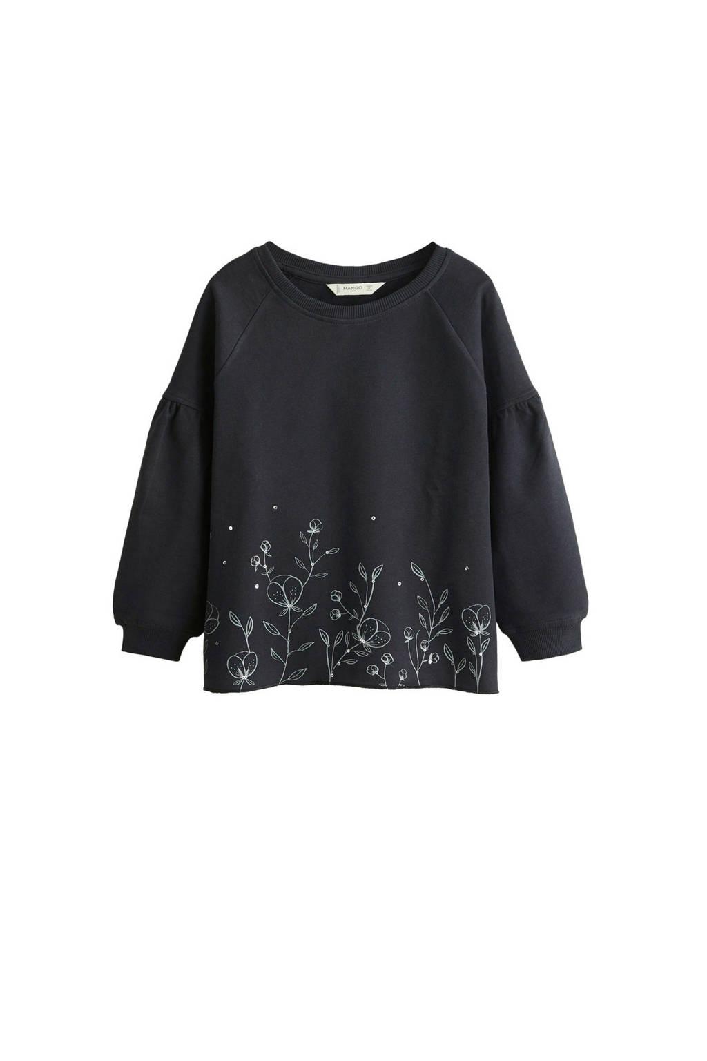 Mango Kids sweater met bloemenprint antraciet, Antraciet