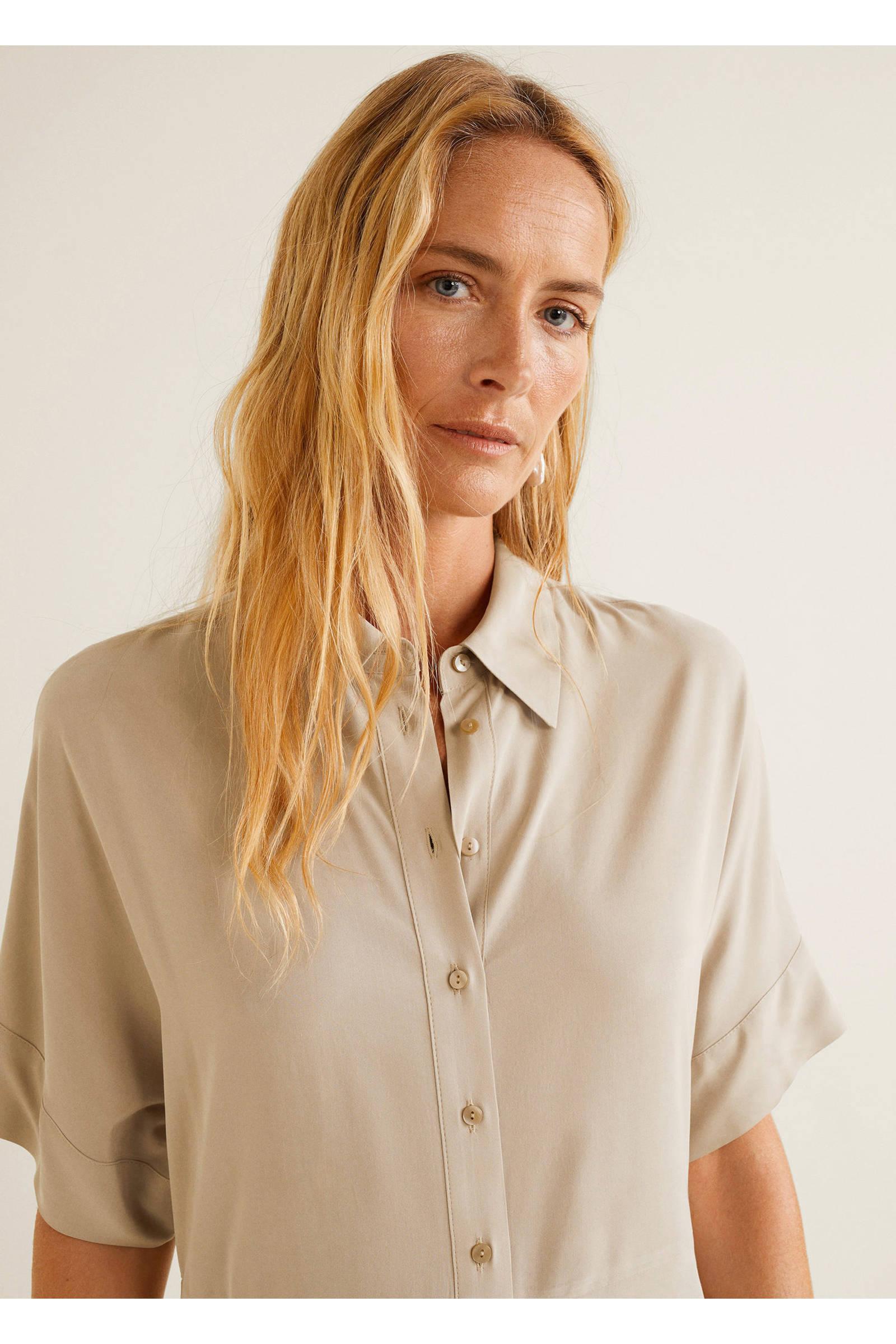001005deade438 Mango getailleerde blousejurk beige