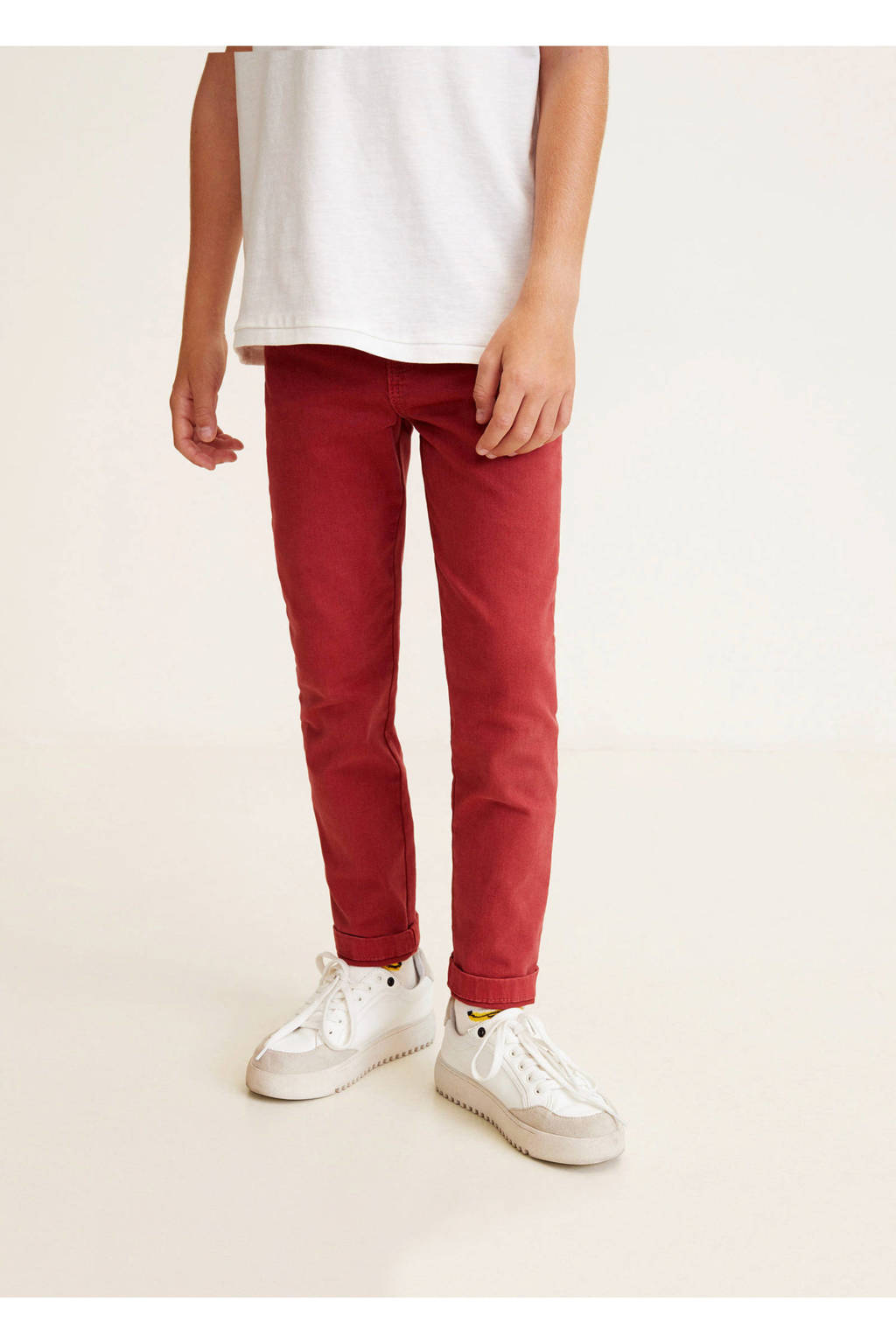 Mango Kids slim fit broek rood, Rood