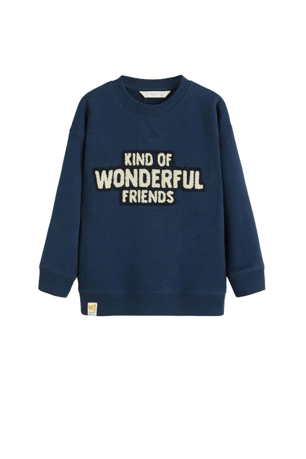 Mango Kids sweater met tekst borduursel donkerblauw, Donkerblauw