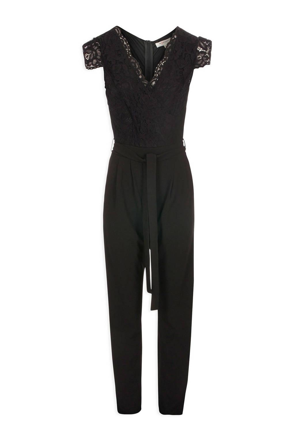 Morgan jumpsuit met kant zwart, Zwart
