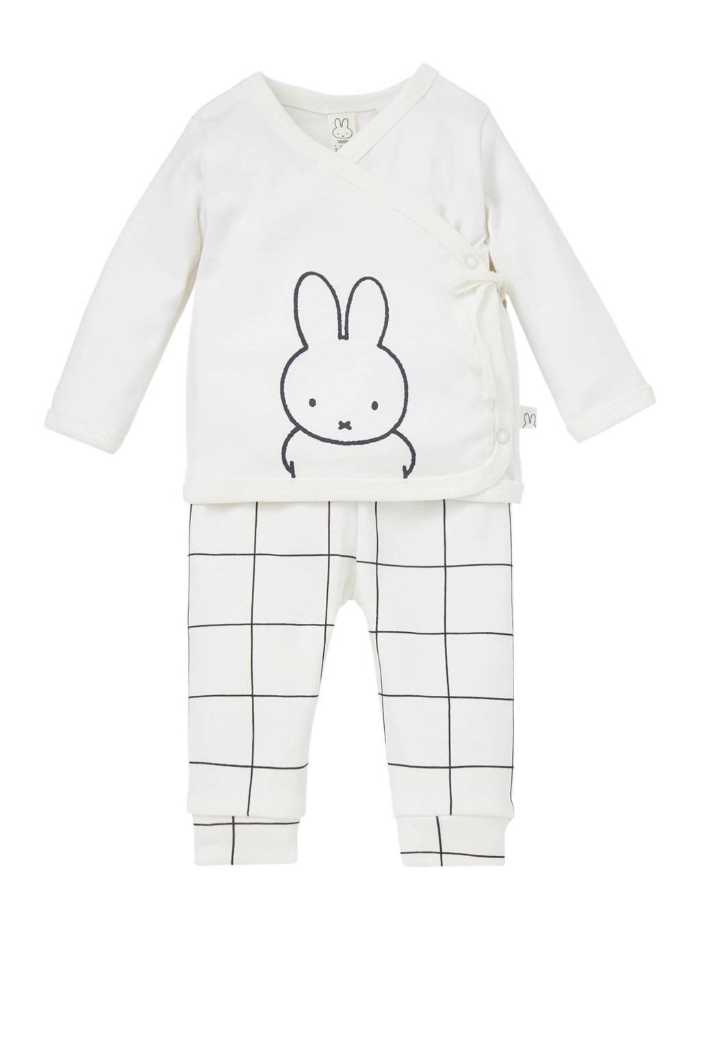 nijntje baby shirt + broek wit/grijs, Wit/grijs