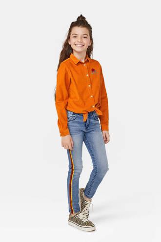 corduroy blouse met printopdruk en borduursels oranje