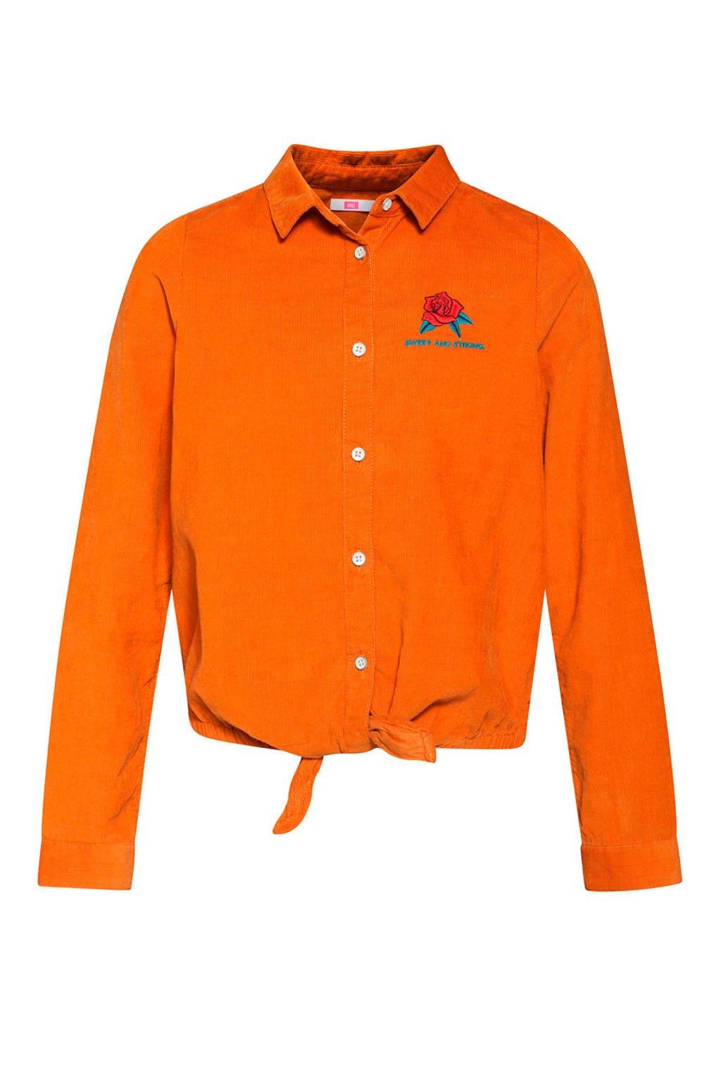 WE Fashion corduroy blouse met printopdruk en borduursels oranje, Oranje