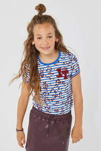 WE Fashion gestreept T-shirt blauw/wit/rood, Blauw/wit/rood