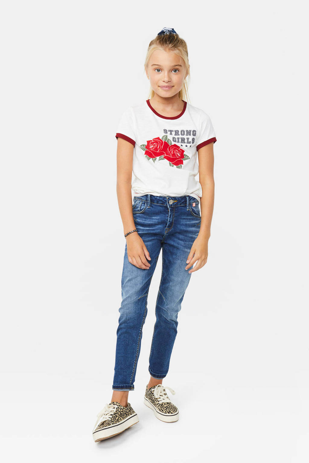 WE Fashion T-shirt met contrastbies wit, Wit