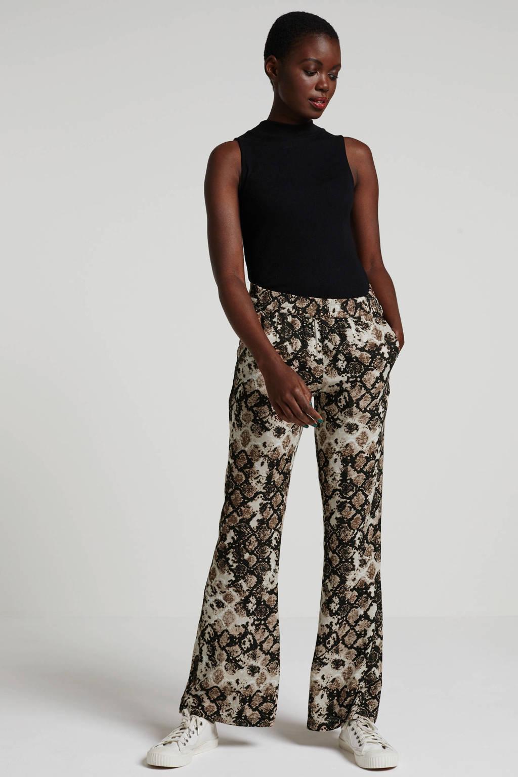 whkmp's beachwave palazzo broek met slangenprint beige/zwart, Beige/zwart