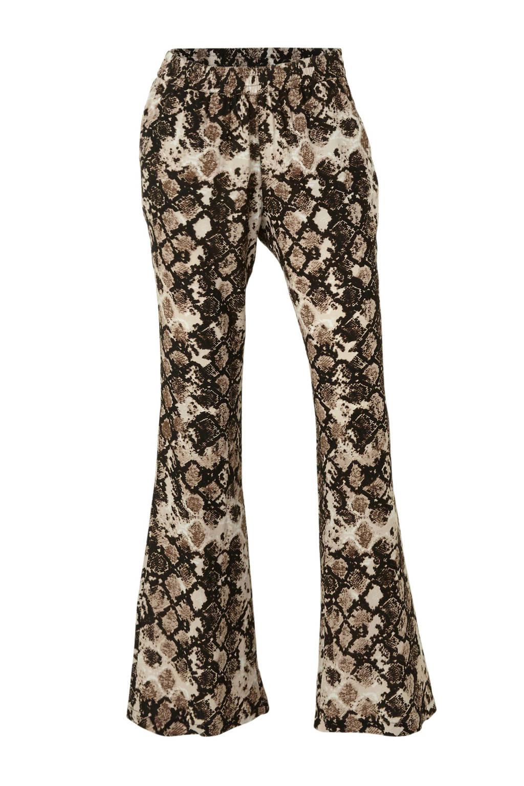 whkmp's beachwave palazzo broek met slangenprint, Beige/zwart