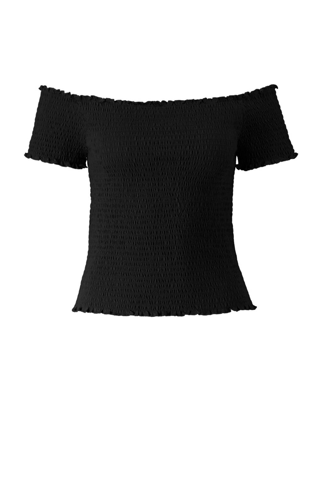 CoolCat off shoulder top zwart, Zwart