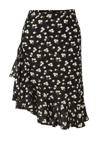 crinkle geweven rok met rushes en bloemenprint
