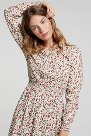 gebloemde jurk ecru/rood/groen