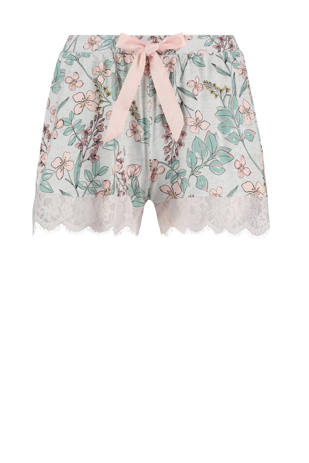 Elegant pyjama short Jersey lace met all over bloemenprint grijs/roze/blauw, Grijs/roze/blauw
