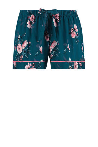 Elegant pyjamashort met all over bloemenprint blauw/roze