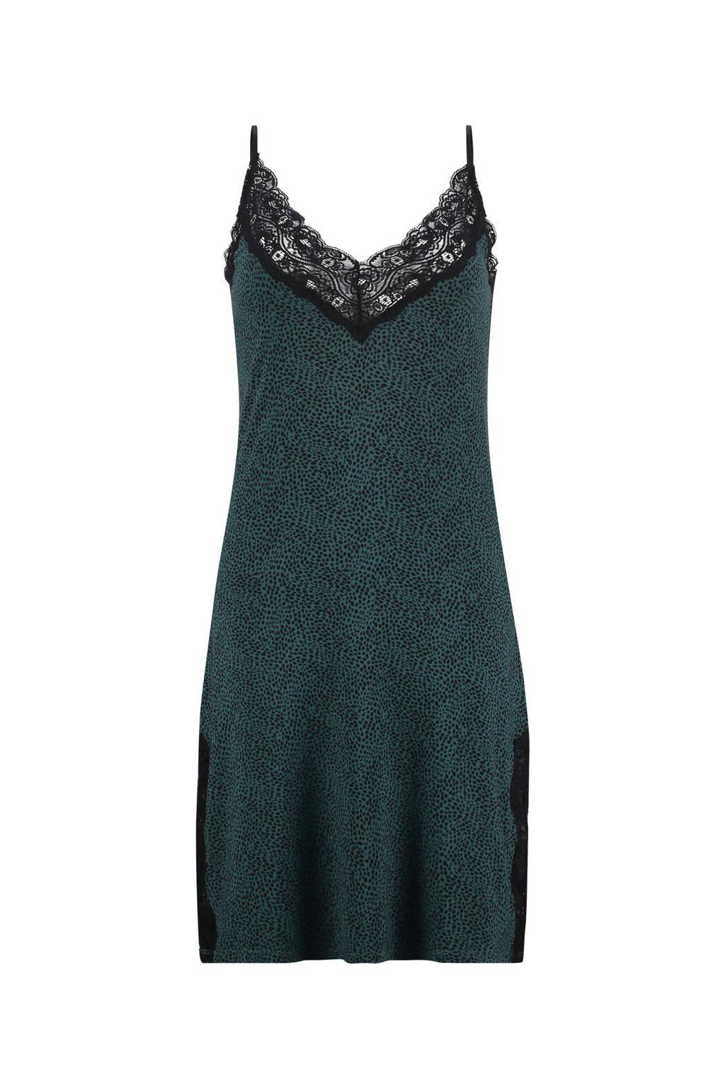 Hunkemöller slipdress Jersey lace met all over panterprint/kant groen/zwart, Groen/zwart