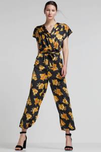 wehkamp satijn geweven jumpsuit met bloemenprint, zwart/okergeel