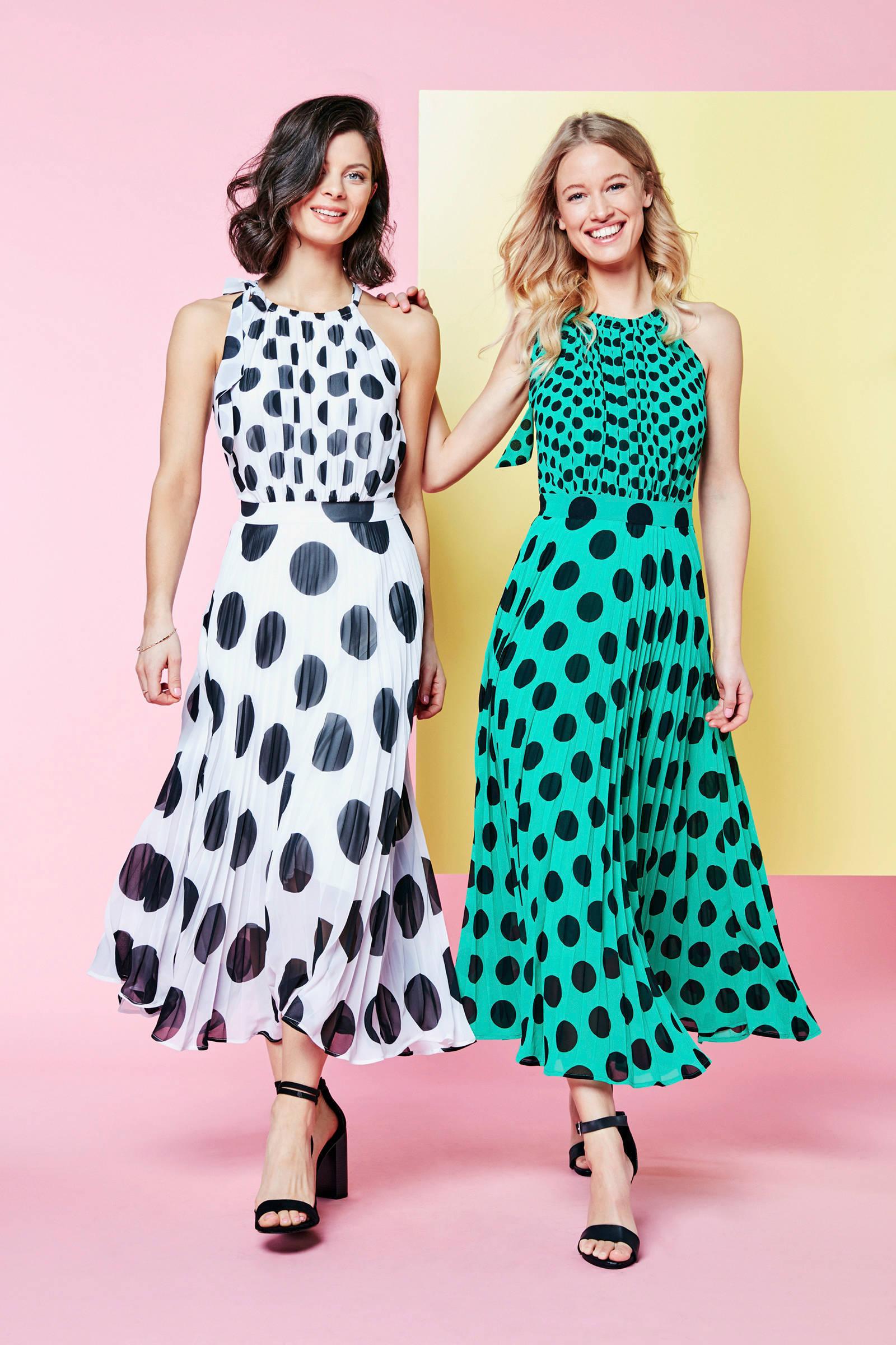 stippen plissé plissé stippen en jurk Steps Steps jurk en qBxnRwO87