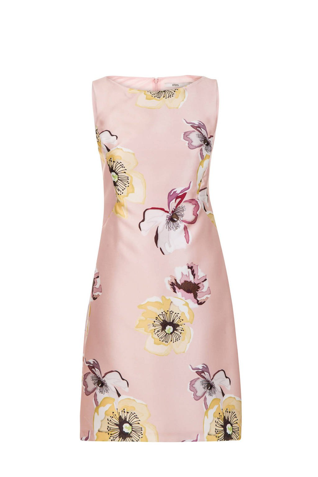 Steps getailleerde jurk met bloemenprint roze, Roze/multi