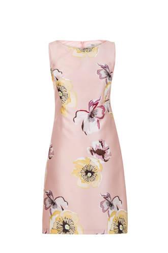 getailleerde jurk met bloemenprint roze