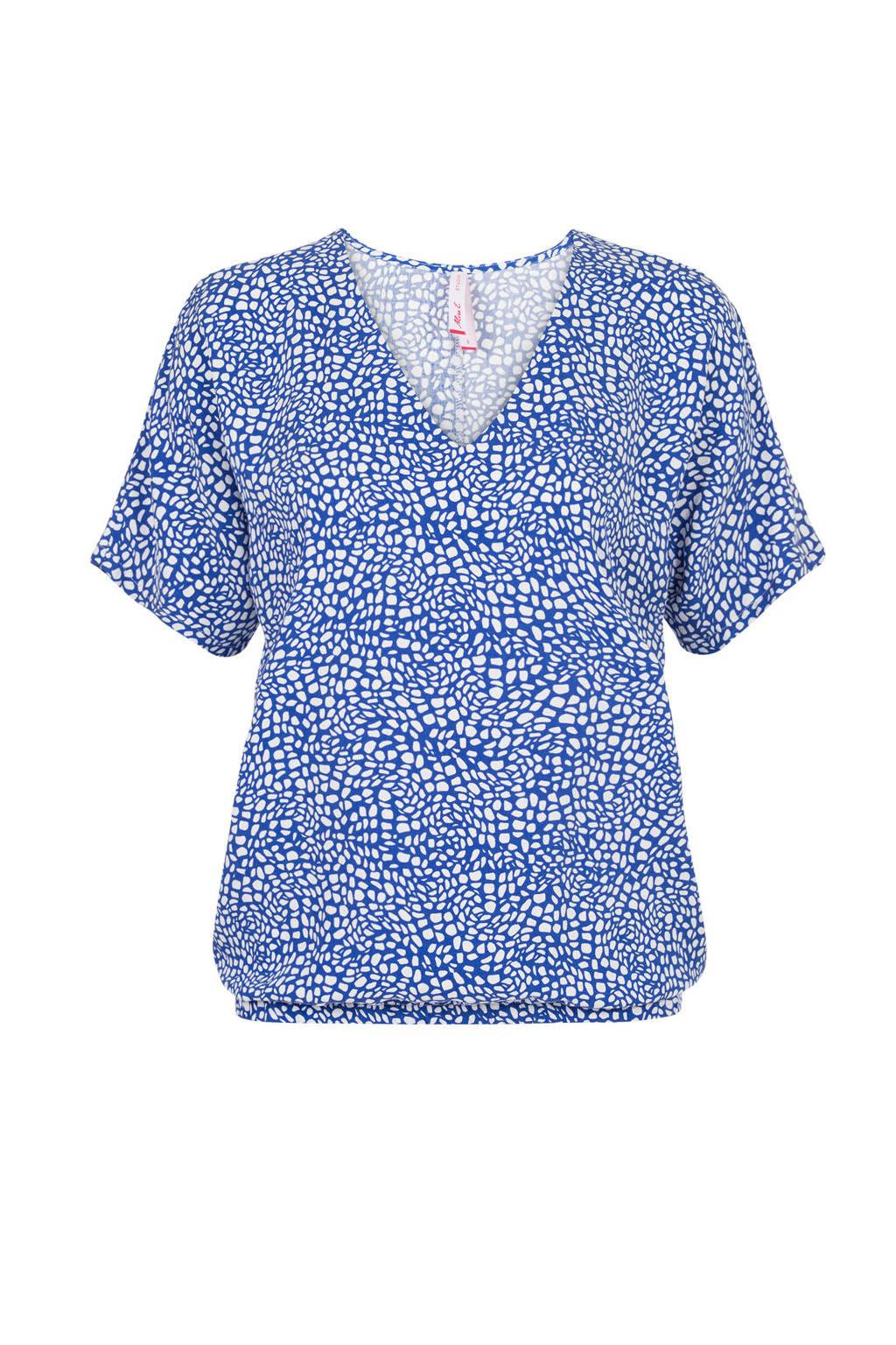 Miss Etam Regulier top met allover print blauw, Blauw