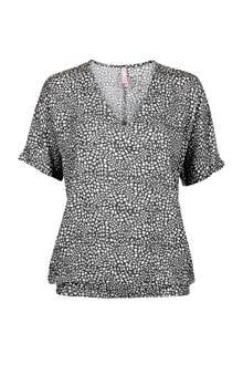 Regulier top met allover print zwart