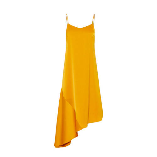 Pieces asymmetrische jurk okergeel