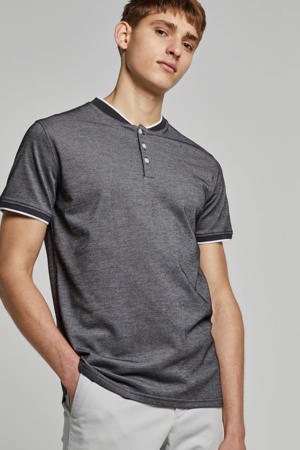 regular fit polo antraciet/wit