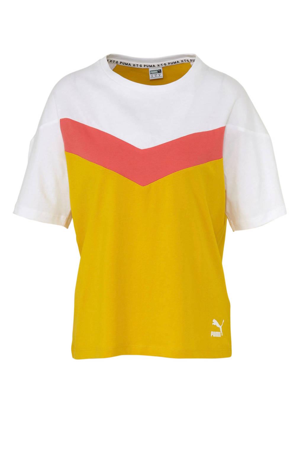Puma T-shirt geel/wit/roze, Geel/wit/roze
