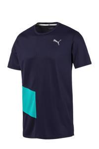 Puma   hardloop T-shirt donkerblauw, Donkerblauw/lichtblauw