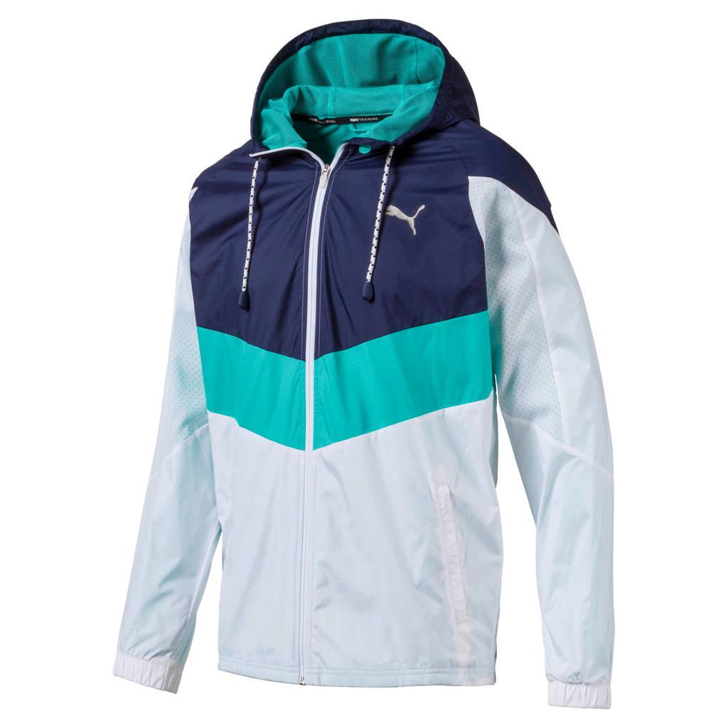 Puma   hardloopjack wit/turquoise/blauw, Wit/turquoise/blauw
