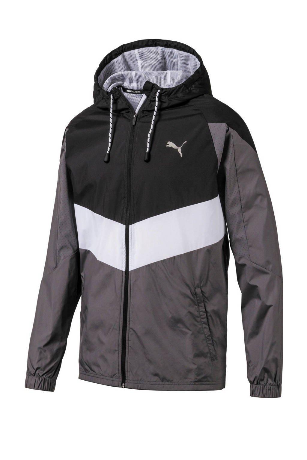 Puma   hardloopjack zwart/wit/grijs, Zwart/wit/grijs