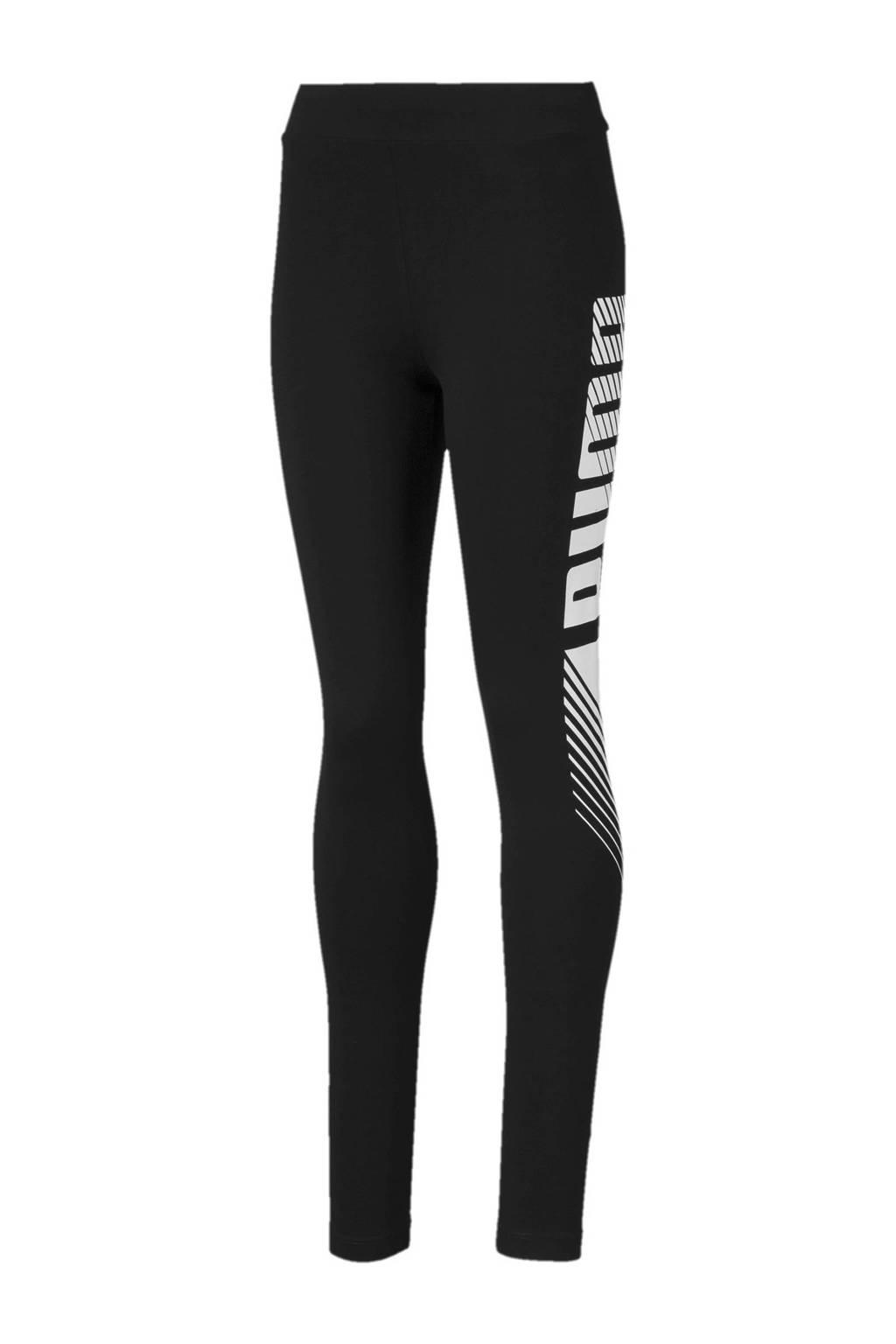 Puma legging met logo zwart/wit, Zwart/wit