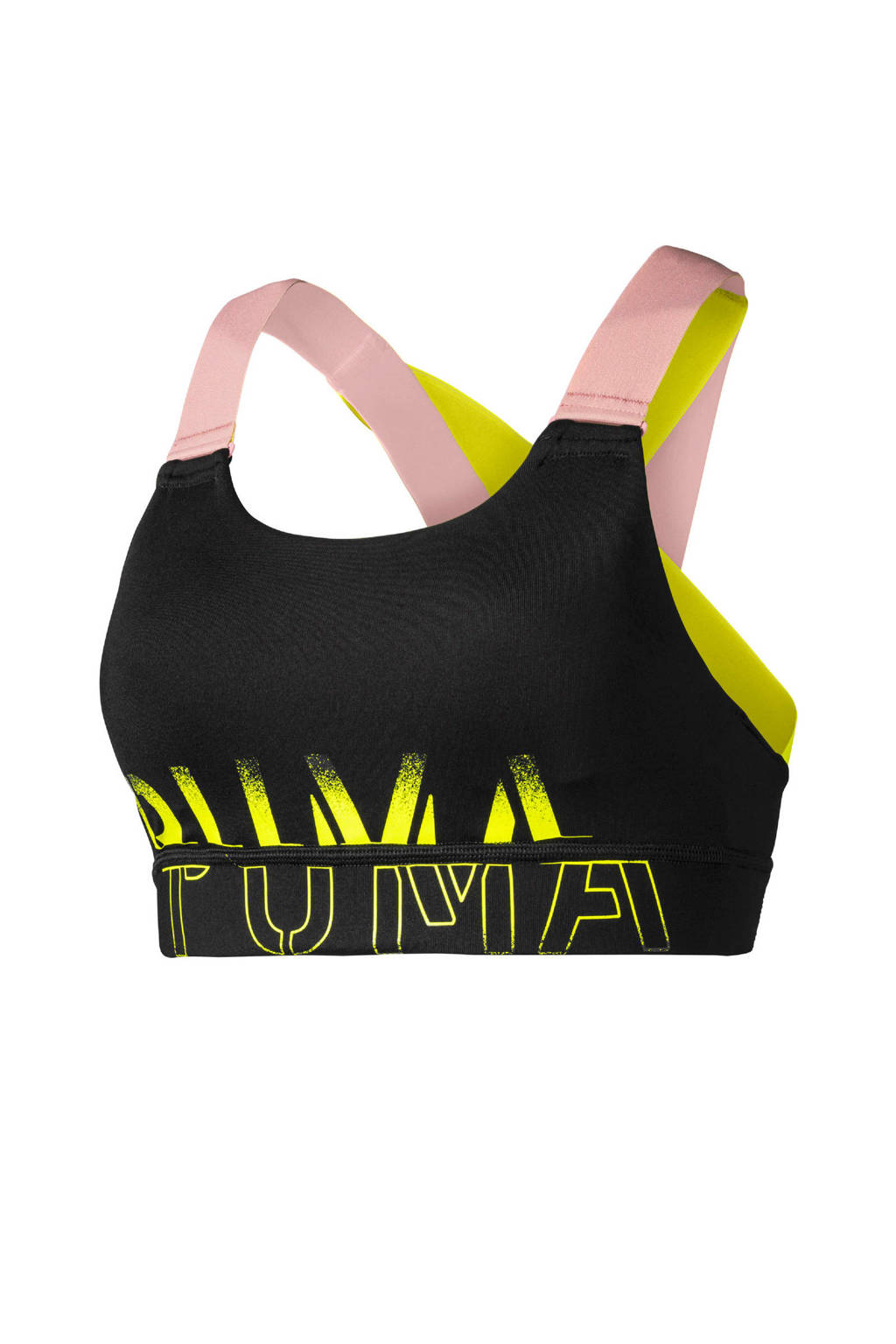 Puma Level 3 sportbh zwart, Zwart/roze/geel