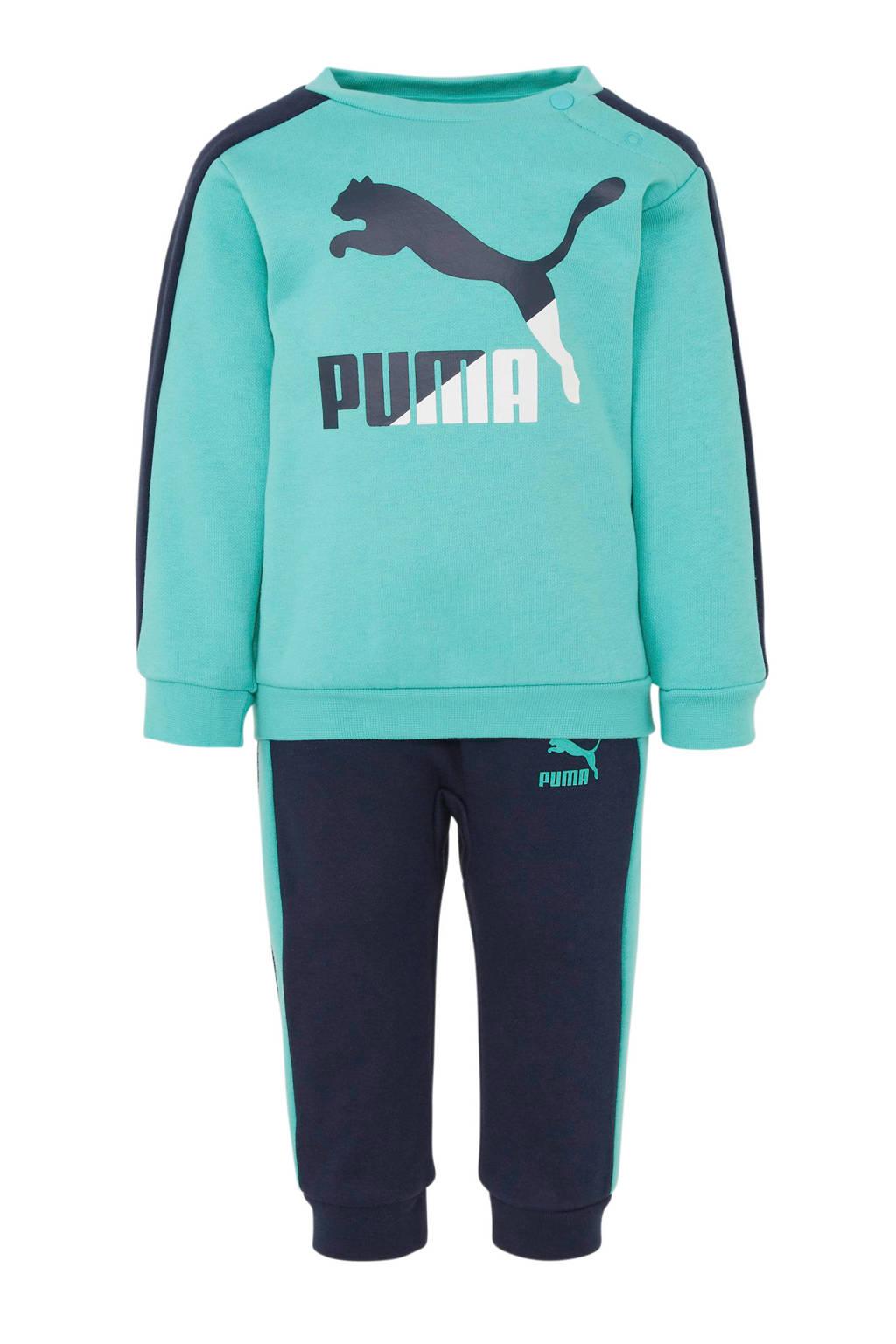 Puma   joggingpak turquoise, Turquoise/donkerblauw