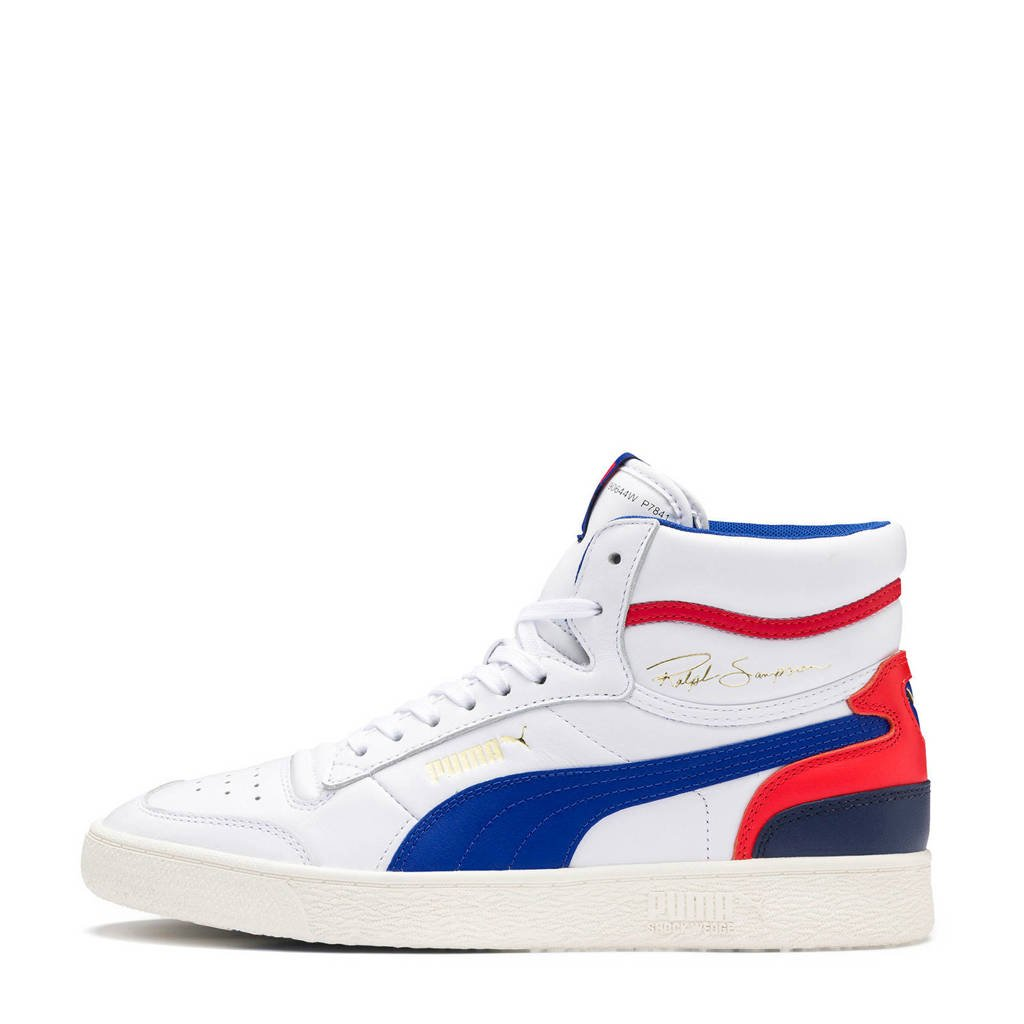 Puma  Ralph Sampson Mid sneakers wit/blauw/rood, Wit/blauw/rood