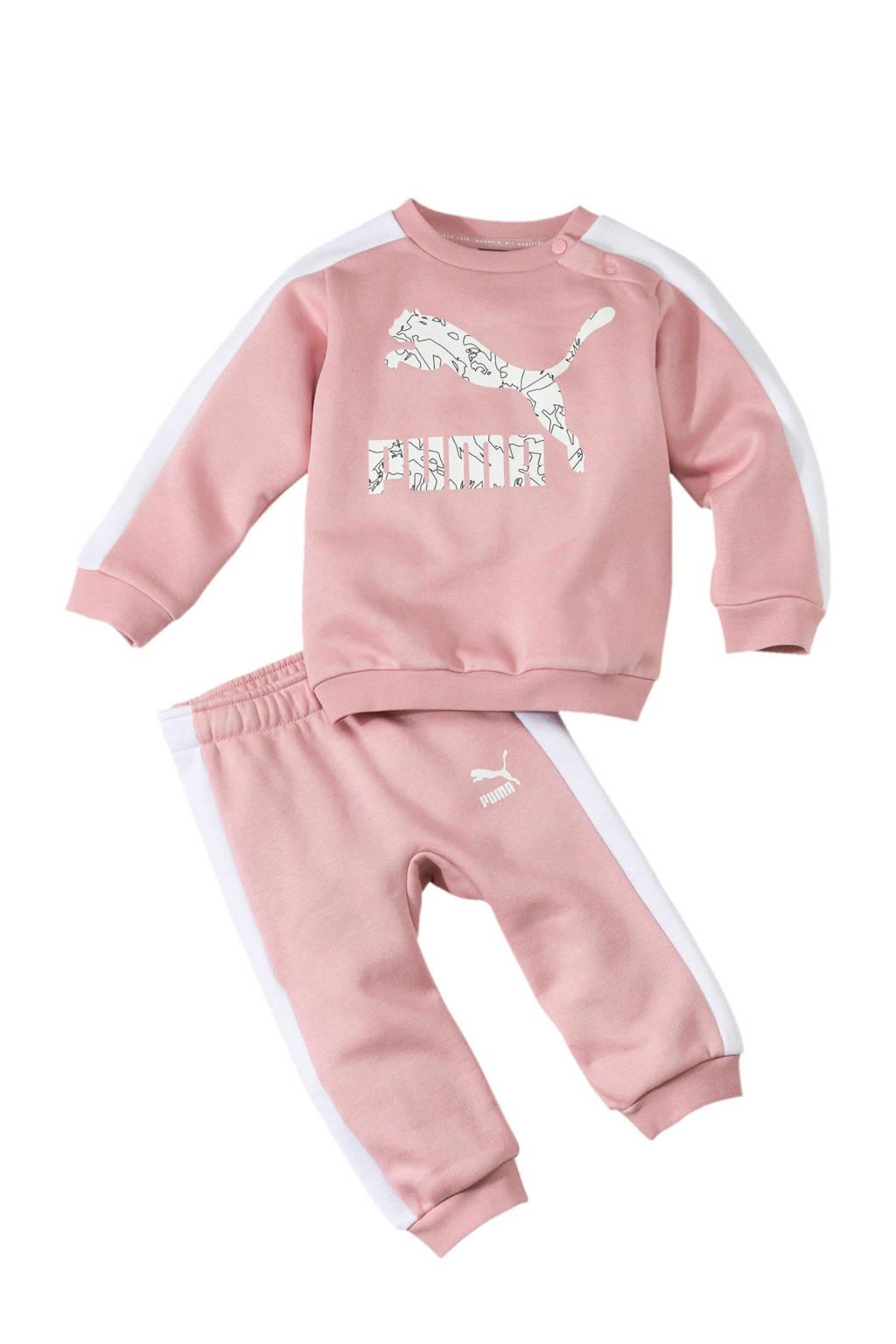 Puma joggingpak roze, Roze/wit