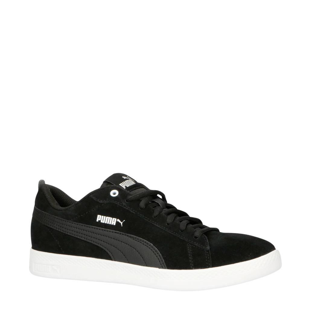 Puma   Smash Wns v2 SD suède sneakers zwart, Zwart/wit