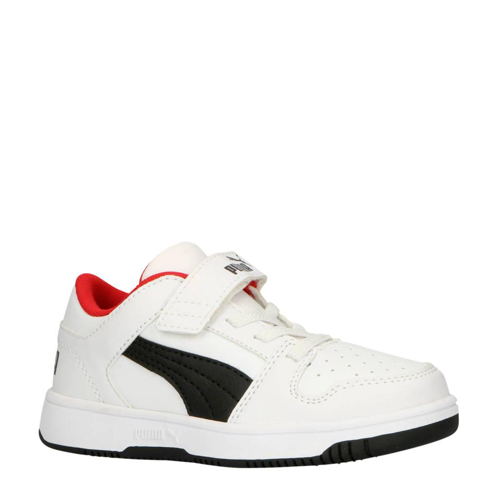Puma  Rebound Layup Lo SL V PS sneakers wit/zwart/rood, Wit/zwart/rood