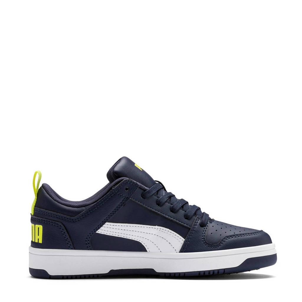 Puma  Rebound Layup Lo SL Jr sneakers donkerblauw/wit, Donkerblauw/wit