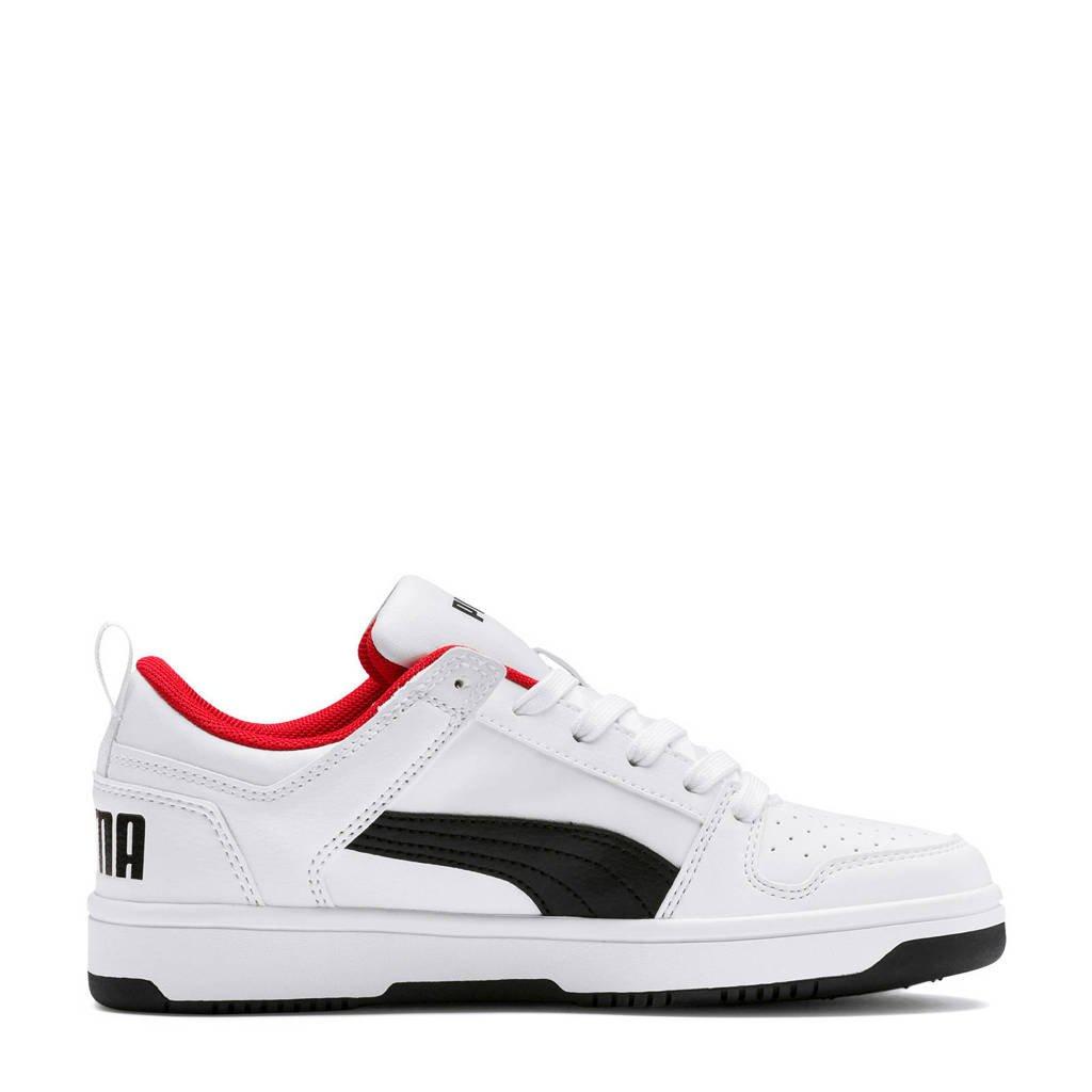 Puma  Rebound Layup Lo SL Jr sneakers wit/zwart/rood, Wit/zwart/rood