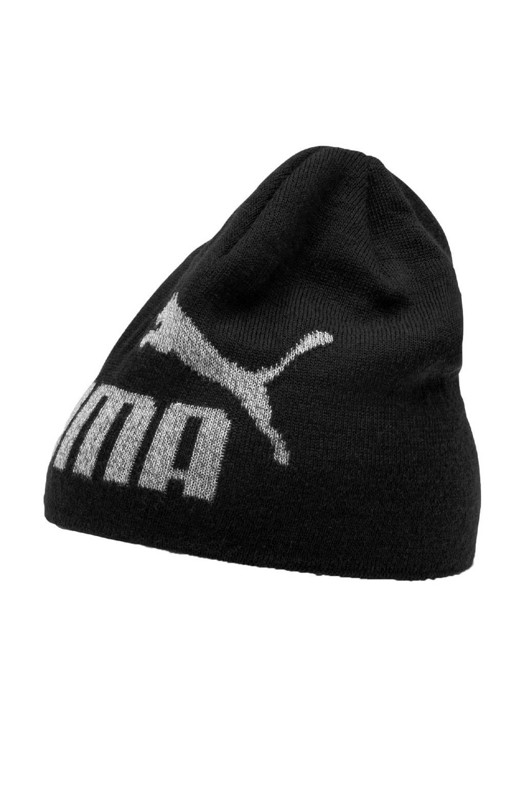 Puma muts met logo opdruk zwart, Zwart/ecru